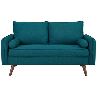 Revive 60 in. Teal Polyester 2-Seater Loveseat with Tapered Wood Legs