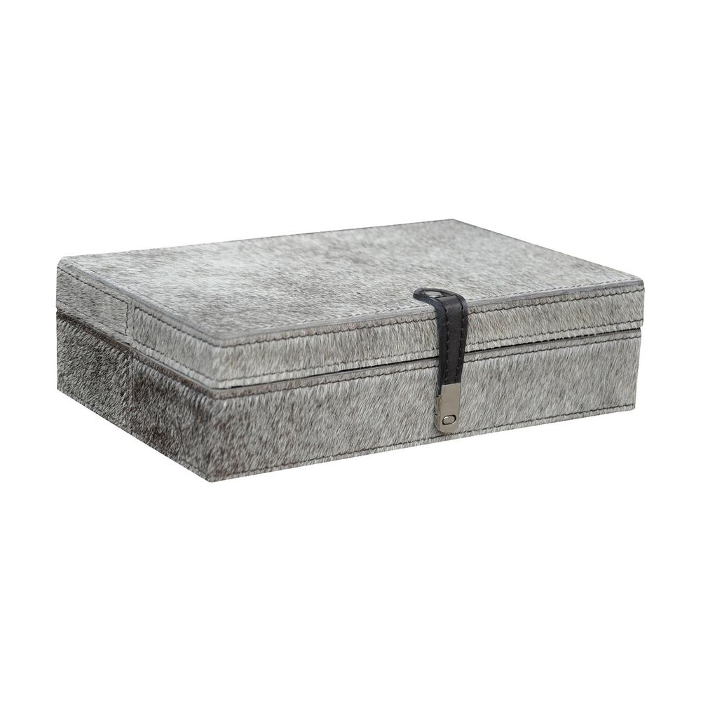 11 in. x 2 in. Grey Hair-on Leather Decorative Box, Gray