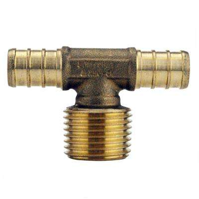 1/2 in. Brass PEX Barb x 1/2 in. Male Pipe Thread Adapter Tee