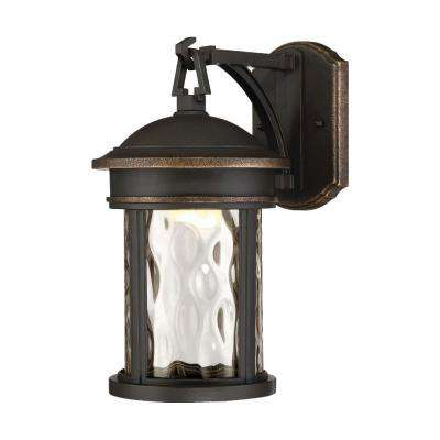 16 in. LED Olympic Bronze Outdoor Wall Lantern Sconce with Clear Hammered Glass Shade