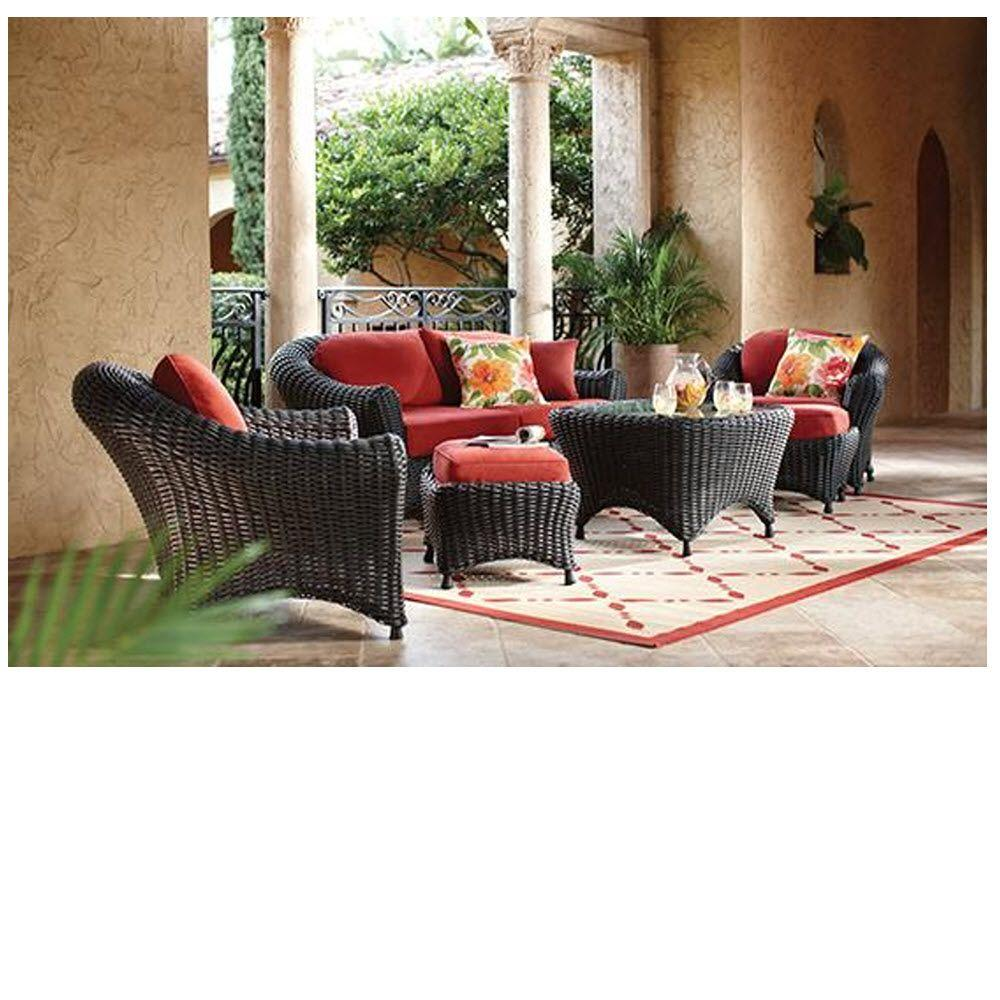 Martha Stewart Living Lake Adela Charcoal 6-Piece All-Weather Wicker Patio Seating Set with Spice Cushions