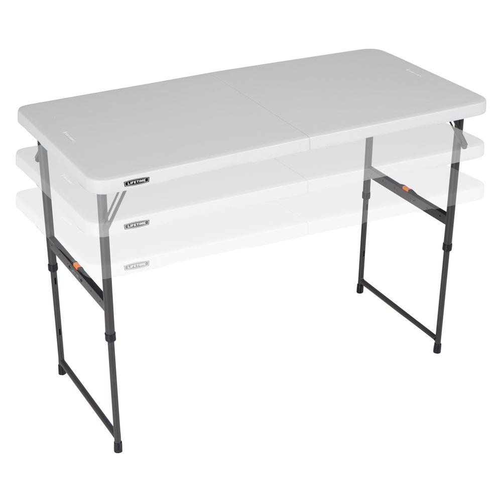 Lifetime 48 In Almond Plastic Adjustable Height Fold In Half Folding Table