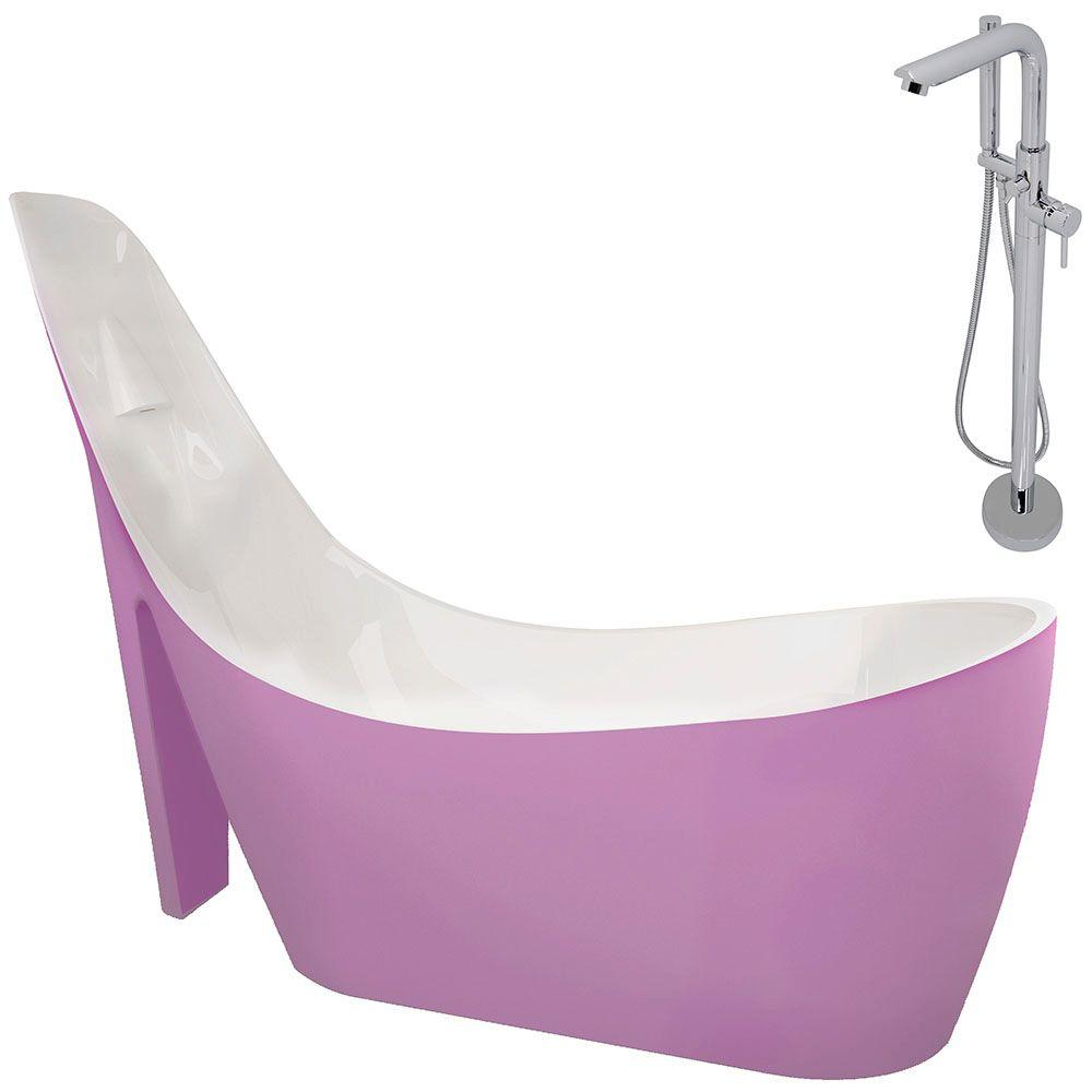 Acrylic Slipper Flatbottom Non Whirlpool Bathtub In Rose Pink And