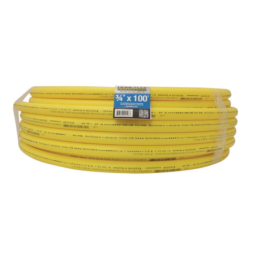 Underground 3/4 in. x 100 ft. Yellow Polyethylene Gas Pipe