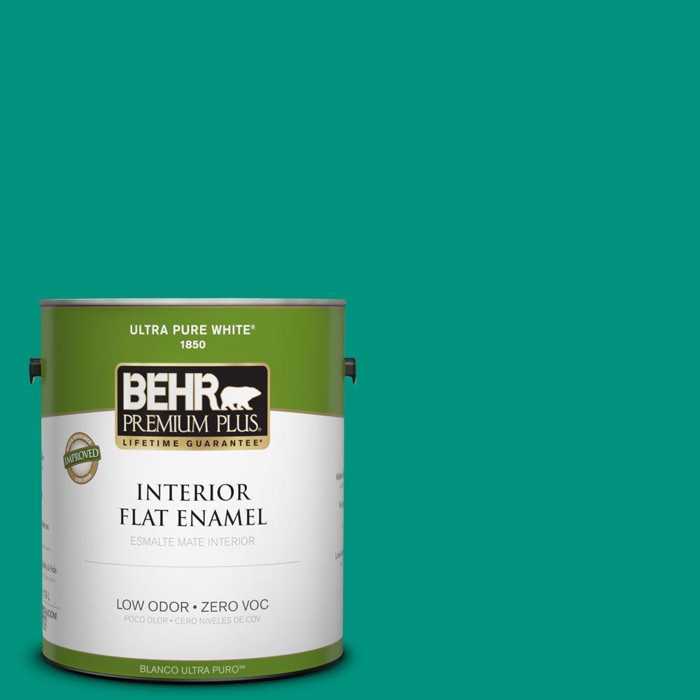 BEHR Premium Plus 1-gal. #S-G-480 Aqua Waters Zero VOC Flat Enamel Interior Paint-DISCONTINUED