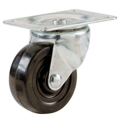 1-1/4 in. Soft Rubber Swivel Plate Caster with 30 lb. Load Rating