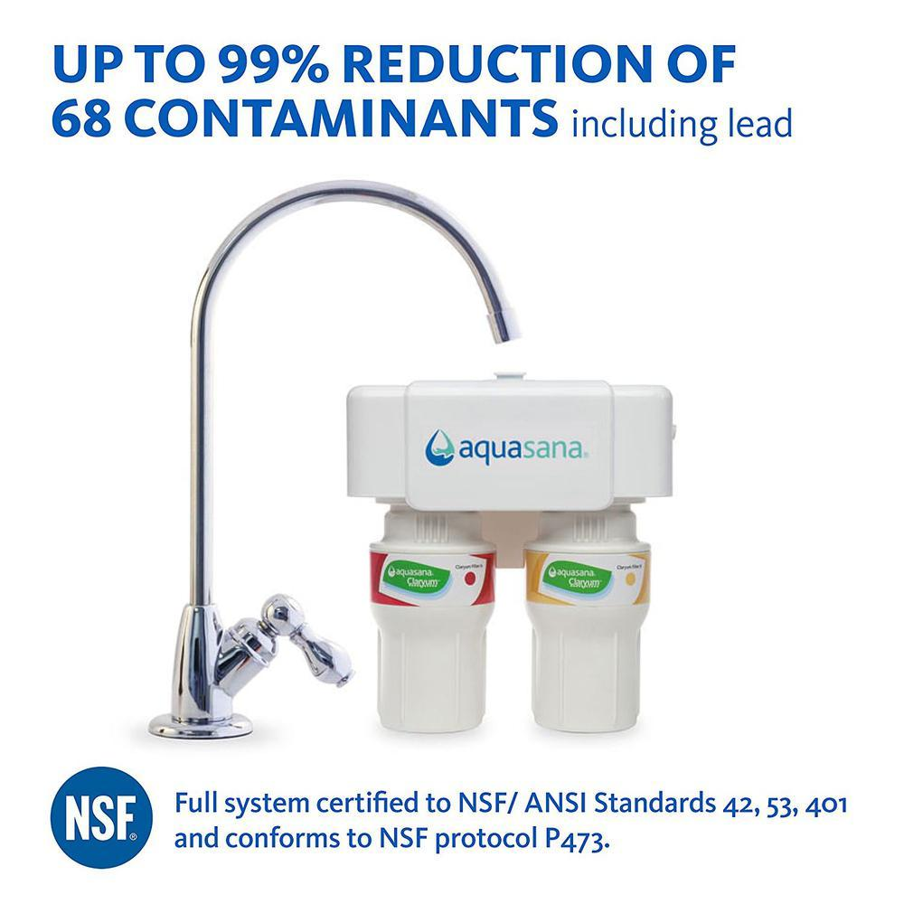 Aquasana 2-Stage Under Counter Water Filtration System with Chrome Finish Faucet