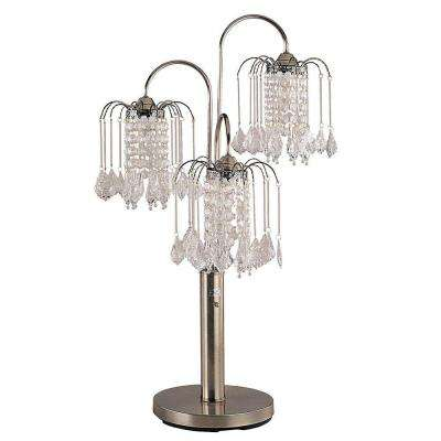 34 in. Antique Brass Table Lamp with Crystal Like Shades