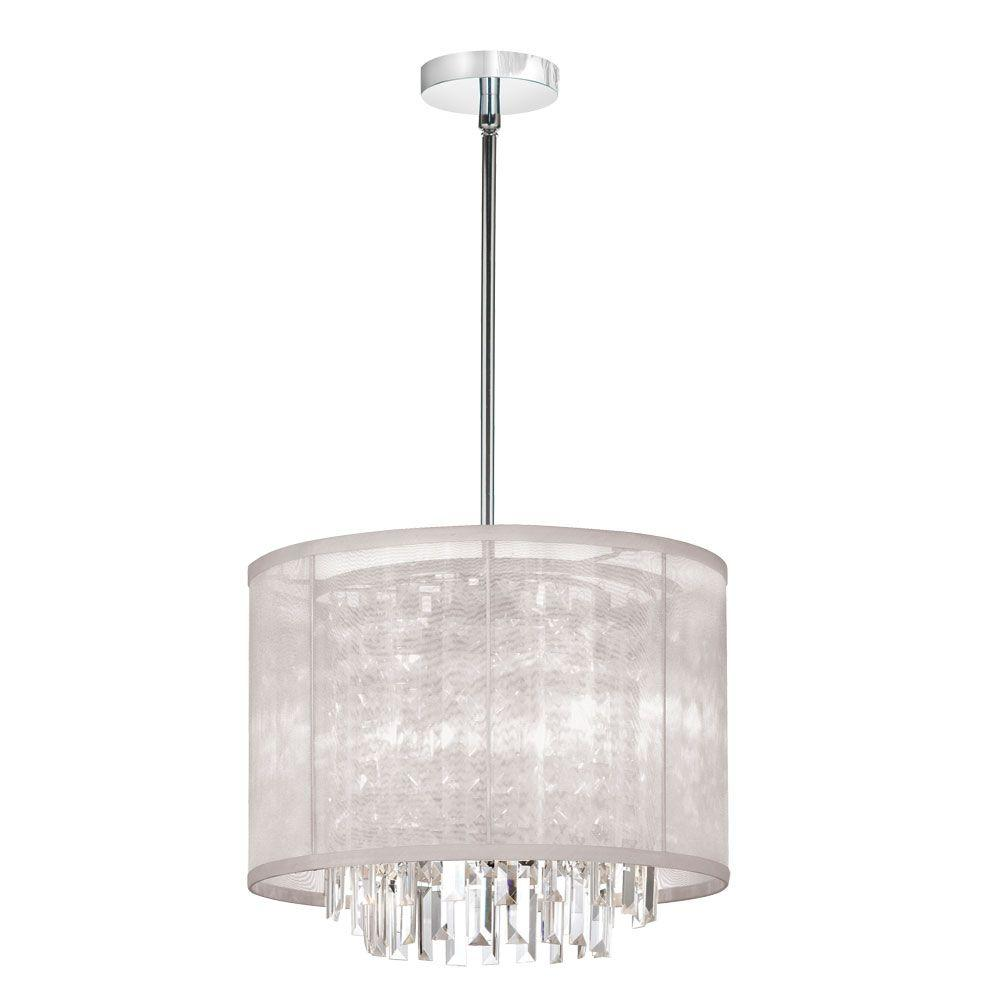 Radionic Hi Tech Cubix 3-Light Polished Chrome Clear Crystal Pendant with Oyster Organza Drum Shade
