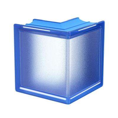 Blueberry 5.75 in. x 5.75 in. x 3.15 in. Classic Blue Corner Glass Block