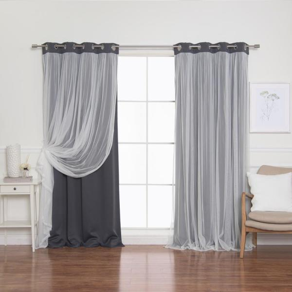 Dark Grey 84 in. L Marry Me Lace Overlay Blackout Curtain Panel in (2-Pack)