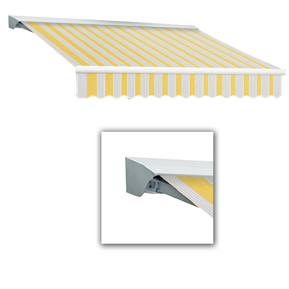 AWNTECH 10 ft. LX-Destin Hood Right Motor with Remote Retractable Acrylic Awning (96 in. Projection) in Yellow/Gray/Terra