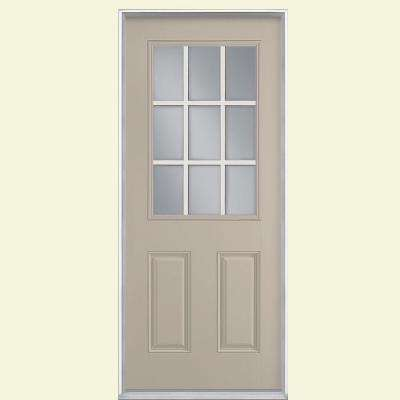 36 in. x 80 in. 9 Lite Canyon View Right-Hand Inswing Painted Smooth Fiberglass Prehung Front Door, Vinyl Frame