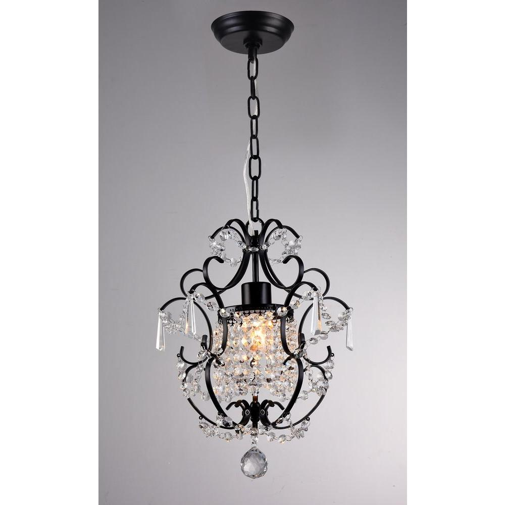 Ava 11 in. Black Indoor Crystal Chandelier with Shade-RL4025BL ...