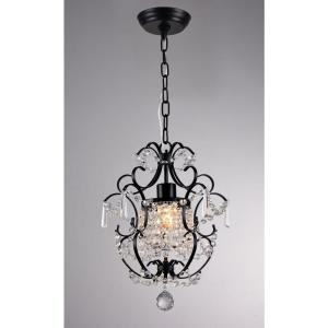 Ava 11 inch Black Indoor Crystal Chandelier with Shade by