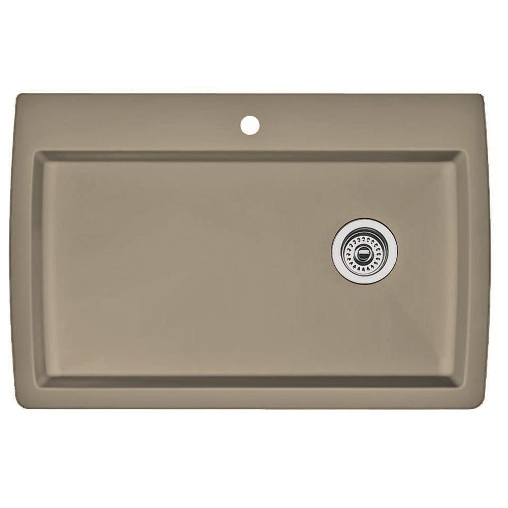 Diamond Dual Mount Granite Composite 32.5 in. 1-Hole Super Single Bowl Kitchen Sink in Truffle