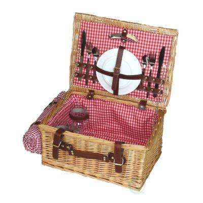 16 in.W x 12 in. D x 8 in. H Picnic Suitcase Basket With Accessories, Servings for 2