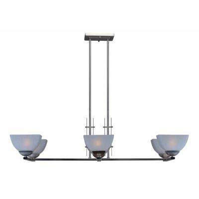 6-Light Brushed Nickel Chandelier with White Linen Glass Shade