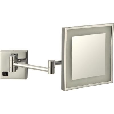 Glimmer 8 in. x 8 in. Wall Mounted LED 5x Rectangle Makeup Mirror in Satin Nickel Finish