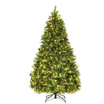 7 ft. Pre-Lit Artificial Christmas Tree Hinged with 460 LED Lights and Pine Cones