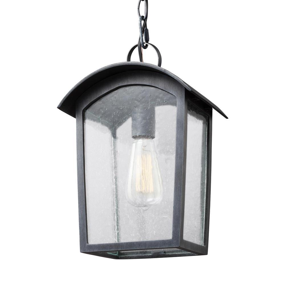 Feiss Hodges 1-Light Ash Black Outdoor Hanging Pendant Lantern