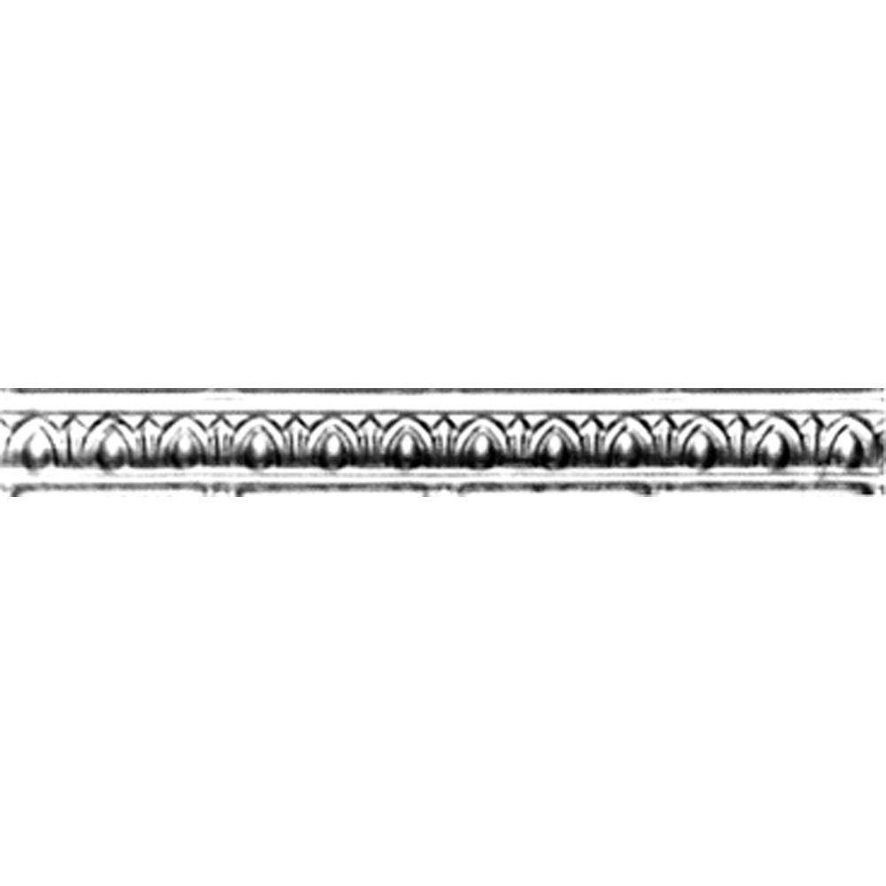 Shanko 2 in. x 4 ft. x 2 in. Steel Nail-up/Direct Application Tin Ceiling Cornice in Clear Lacquer (6-Pack)