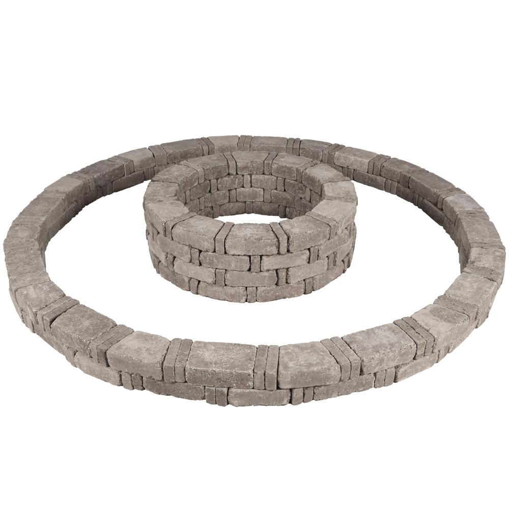 Pavestone RumbleStone 106 in. x 14 in. Double Tree Ring Kit in Greystone