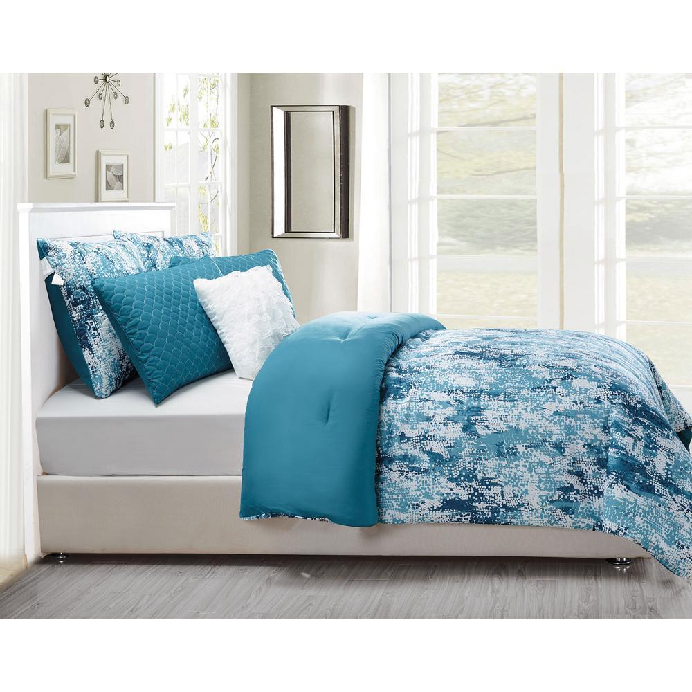 Staas 6-Piece Underwater Teal Oversize/Overfilled Queen Comforter Set