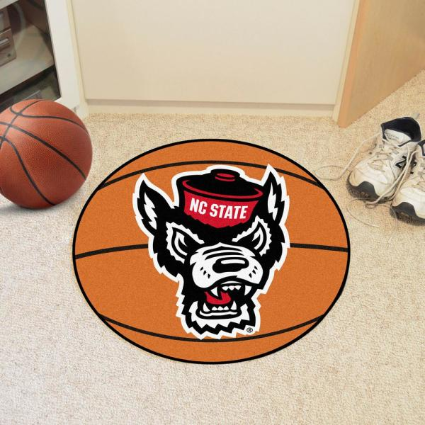 Fanmats Ncaa North Carolina State University 27 In Round Basketball Mat Area Rug 23979 The Home Depot