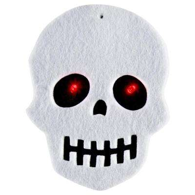 20-Light LED Battery Operated White Felt Skull Light Set