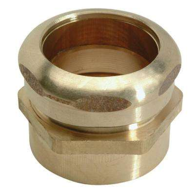 1-1/2 in. O.D. Compression x 1-1/2 in. FIP Brass Waste Connector with Tube Stop in Rough Finish