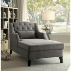 undefined Roni Warm Gray Traditional Corduroy Chaise