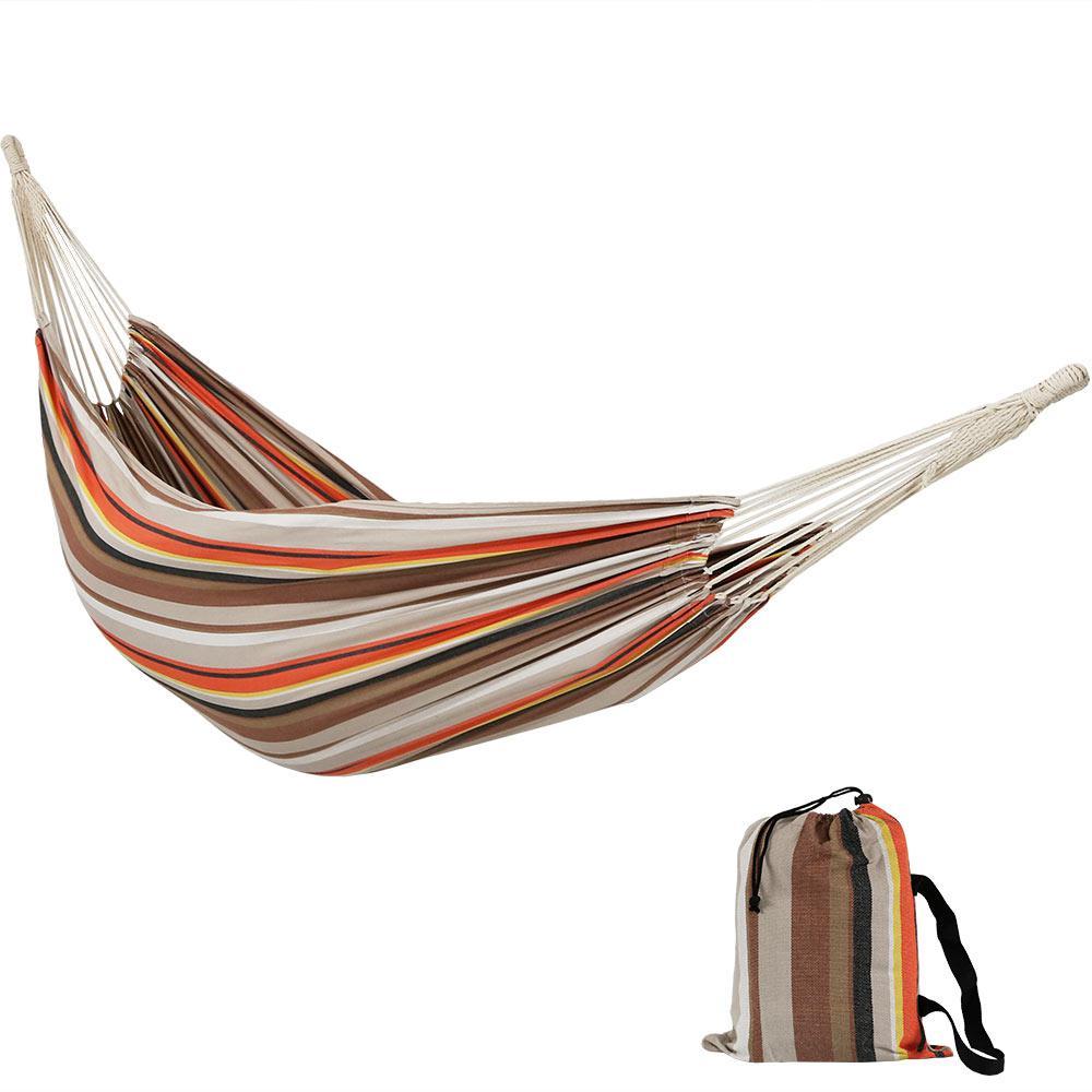 Premium 100% Cotton 10 ft. Portable Double Brazilian Fabric Hammock in Beach Sunrise