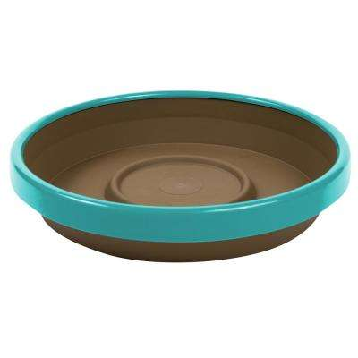 Terra 2 Tone 12 in. Chocolate with Calypso Plastic Saucer