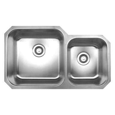 Noah's Collection Undermount Brushed Stainless Steel 33.75 in. 0-Hole Double Bowl Kitchen Sink