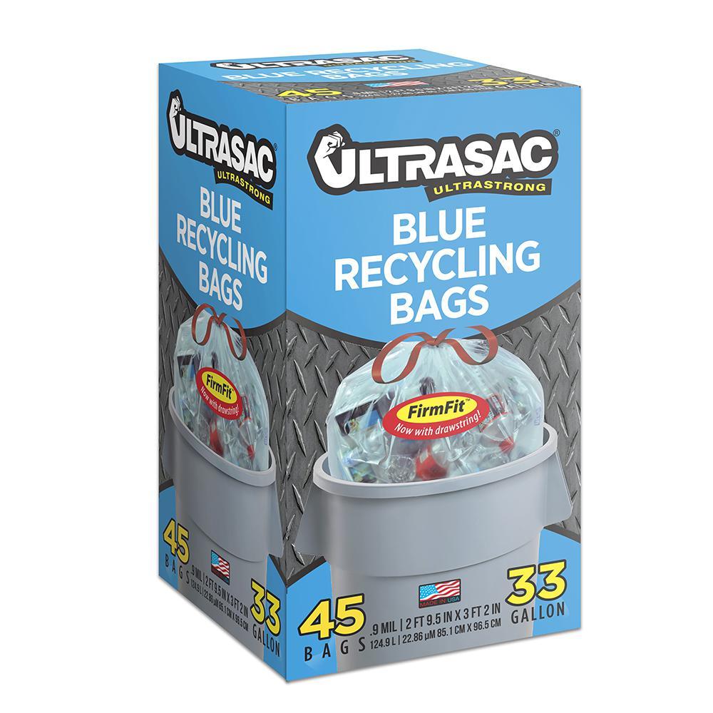 Ultrasac 33 Gal. Drawstring Blue Recycling Bags (45-Count)