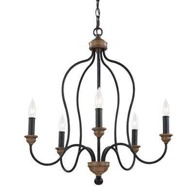 Hartsville 5-Light Dark Weathered Zinc/Weathered Oak Single Tier Chandelier