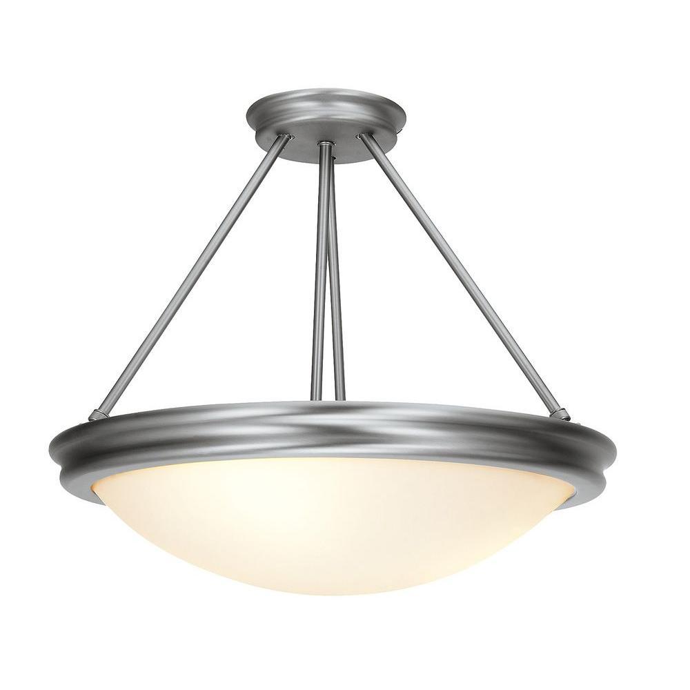 Illumine 3-Light Semi-Flush Mount Brushed Steel Finish Opal Glass-DISCONTINUED
