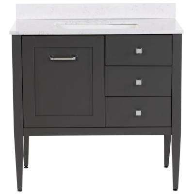 Hensley 37 in. W x 22 in. D Bath Vanity in Shale Gray with Stone Effects Vanity Top in Pulsar with White Basin