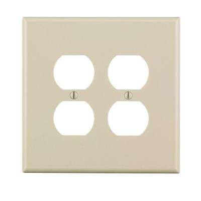2-Gang Jumbo Duplex Outlet Wall Plate, Light Almond