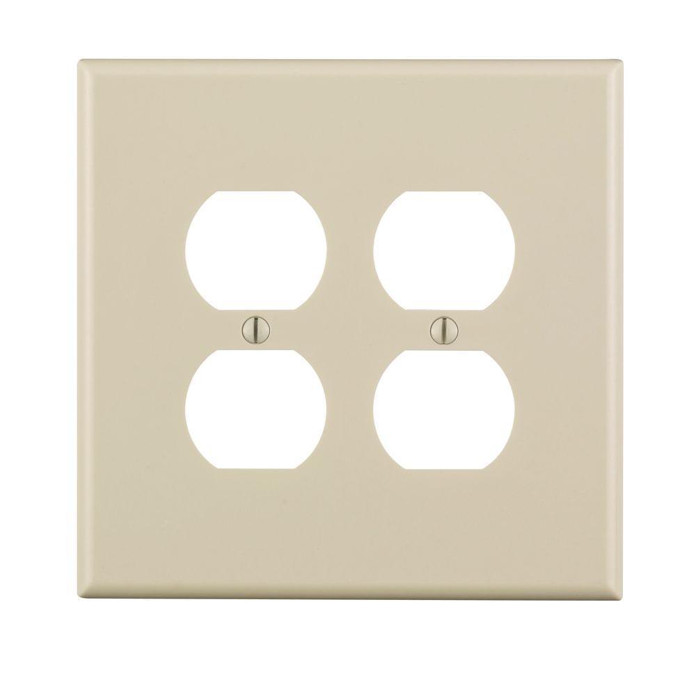 2-Gang Jumbo Duplex Outlet Wall Plate, Light Almond