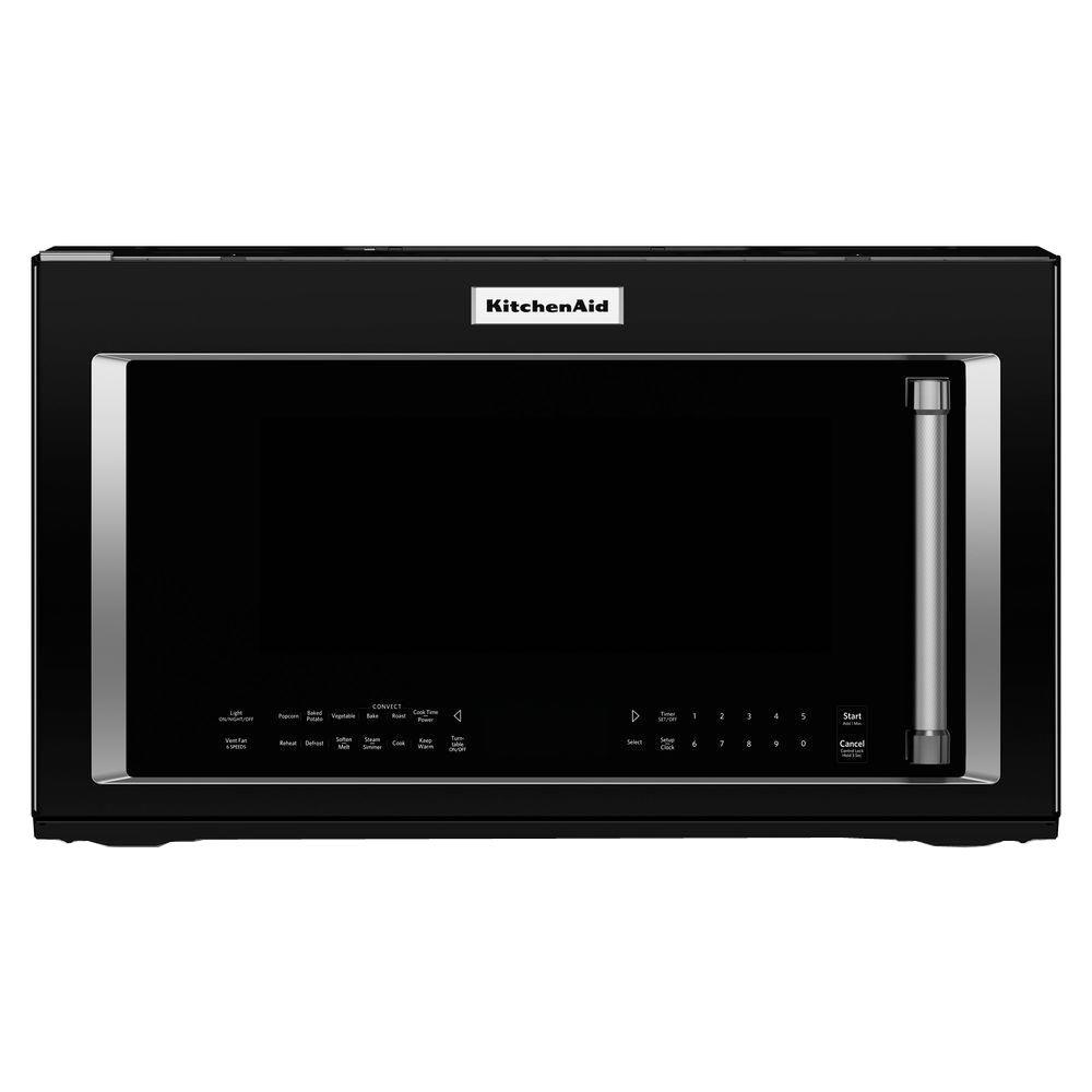 Kitchenaid 1 9 Cu Ft Over The Range Convection Microwave In Black With Sensor Cooking