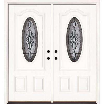 66 in. x 81.625 in. Sapphire Patina 3/4 Oval Lite Unfinished Smooth Left-Hand Fiberglass Double Prehung Front Door