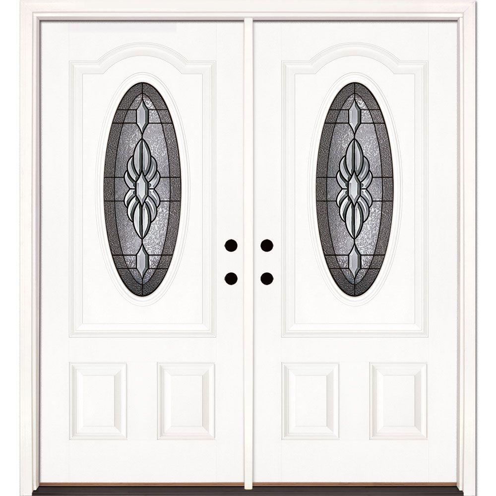 Feather River Doors 74 in. x 81.625 in. Sapphire Patina 3/4 Oval Lite Unfinished Smooth Right-Hand Fiberglass Double Prehung Front Door