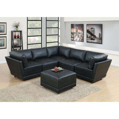 6-Piece Black Bonded Leatherette Modular Sectional Set with Ottoman