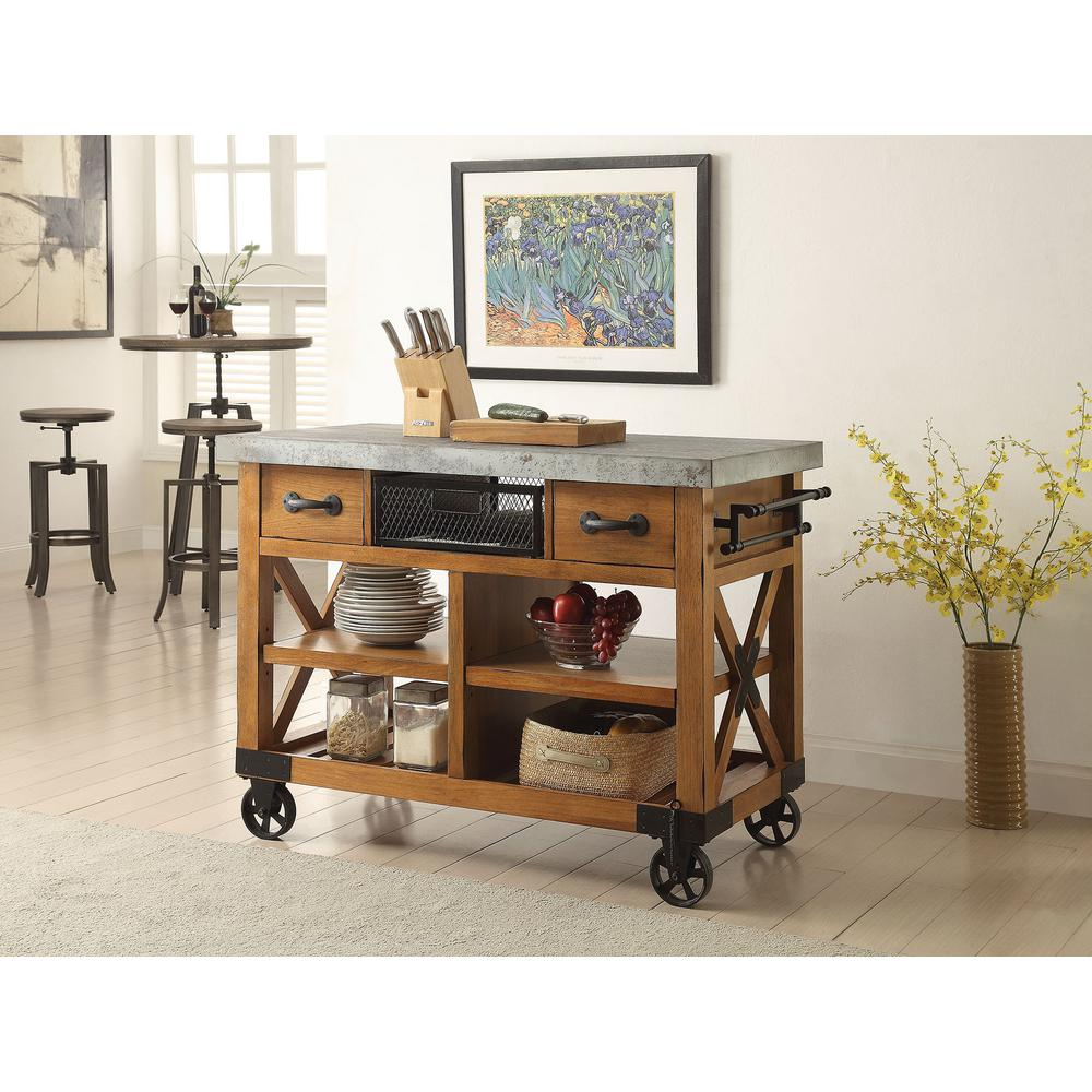 Oak Kitchen Carts And Islands Acme furniture carts islands utility tables kitchen the kailey distressed oak kitchen cart with storage workwithnaturefo