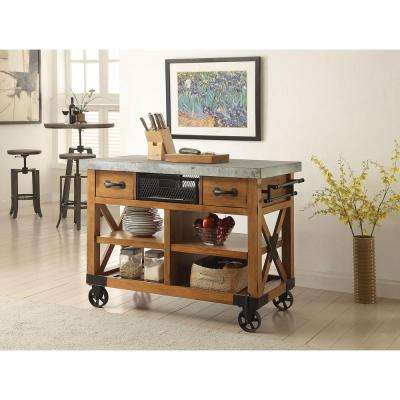 Kailey Distressed Oak Kitchen Cart With Storage