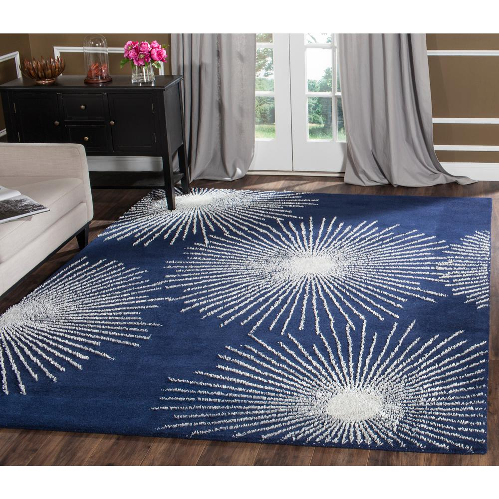 Soho Dark Blue/Ivory Wool 6 ft. x 9 ft. Area Rug