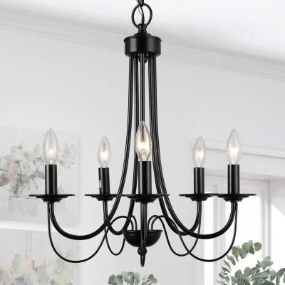 Molnig 5-Light Black Chandelier Modern Farmhouse Classic Candlestick Chandelier Island Pendant Light