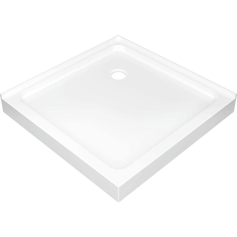 36 In. X 36 In. Double Threshold Corner Shower Base In White